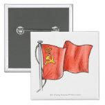 Illustration of Soviet flag Pinback Buttons