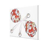 Illustration of split atoms and neutrons canvas print