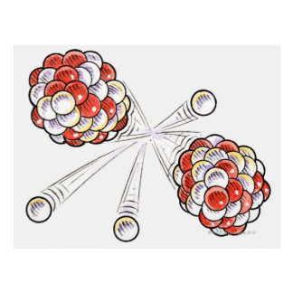 Illustration of split atoms and neutrons postcard