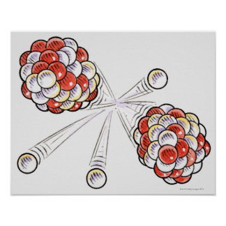 Illustration of split atoms and neutrons poster