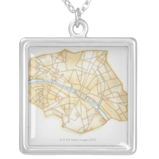 Illustration of streets of Paris during 1789 Silver Plated Necklace
