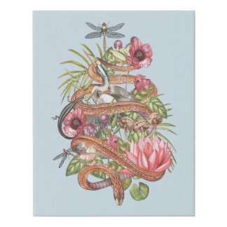 Illustration of swamp theme with a snake faux canvas print