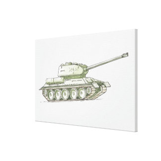 Illustration of tank canvas print