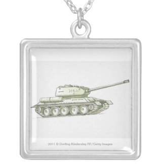 Illustration of tank silver plated necklace