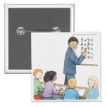 Illustration of teacher pointing at simple 2 inch square button
