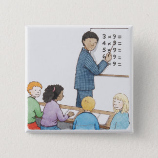 Illustration of teacher pointing at simple button