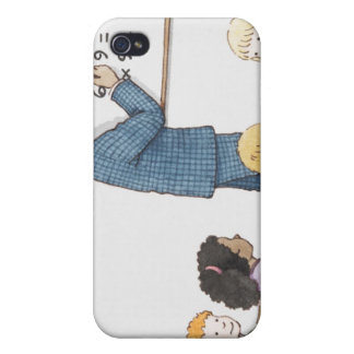 Illustration of teacher pointing at simple case for iPhone 4