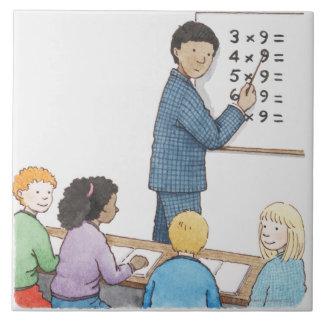 Illustration of teacher pointing at simple ceramic tile