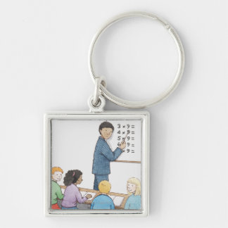 Illustration of teacher pointing at simple keychain