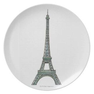 Illustration of the Eiffel Tower Dinner Plate