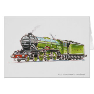 Illustration of the Flying Scotsman train Card