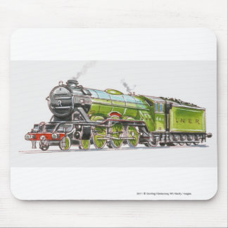 Illustration of the Flying Scotsman train Mouse Pad