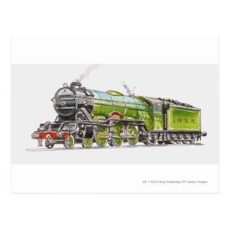 Illustration of the Flying Scotsman train Postcard