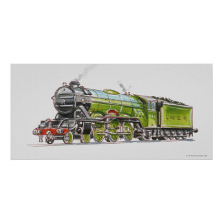 Illustration of the Flying Scotsman train Poster
