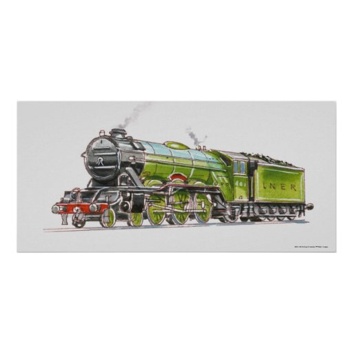 Illustration of the Flying Scotsman train Print