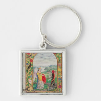 Illustration of the fourth parable Silver-Colored square keychain