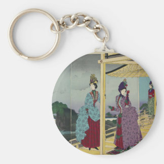 Illustration of the Garden Refreshed after Rain Basic Round Button Keychain