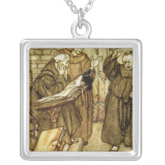 Illustration of 'The Jackdaw of Rheims' Square Pendant Necklace
