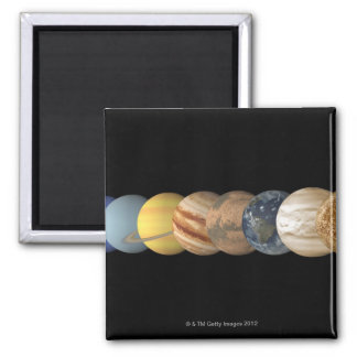 Illustration of the Planets in Alignment 2 Inch Square Magnet