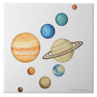 Illustration of the planets of the solar system ceramic tile