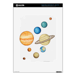 Illustration of the planets of the solar system decal for iPad 3