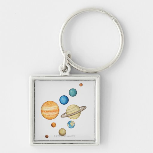 Illustration of the planets of the solar system key chain