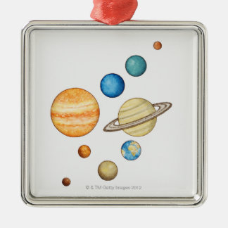 Illustration of the planets of the solar system metal ornament
