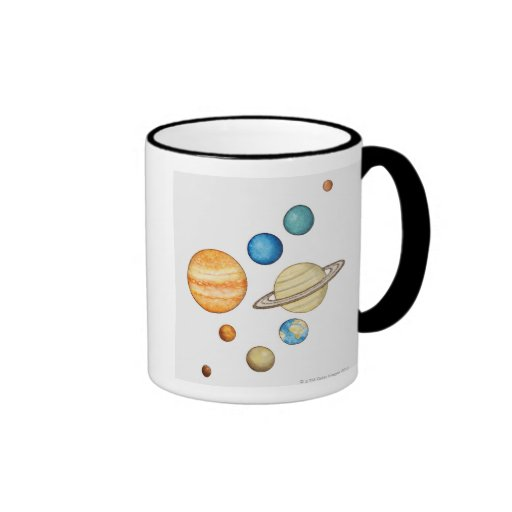 Illustration of the planets of the solar system ringer coffee mug