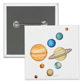 Illustration of the planets of the solar system pinback button