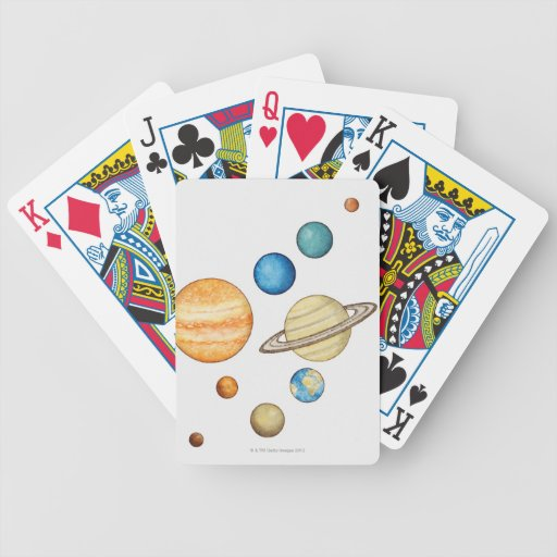 Illustration of the planets of the solar system poker cards