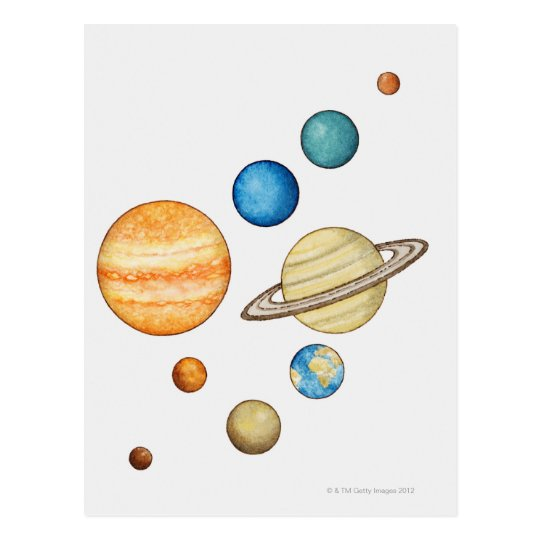 Illustration of the planets of the solar system postcard