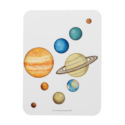 Illustration of the planets of the solar system flexible magnets