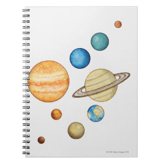 Illustration of the planets of the solar system spiral notebook