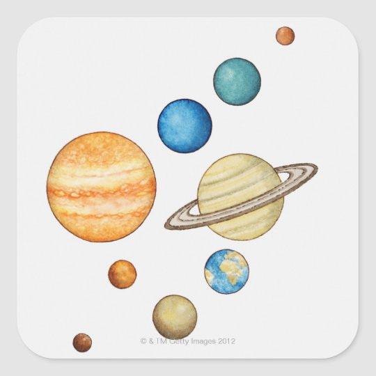 Illustration of the planets of the solar system square sticker