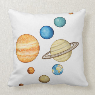 Illustration of the planets of the solar system throw pillow