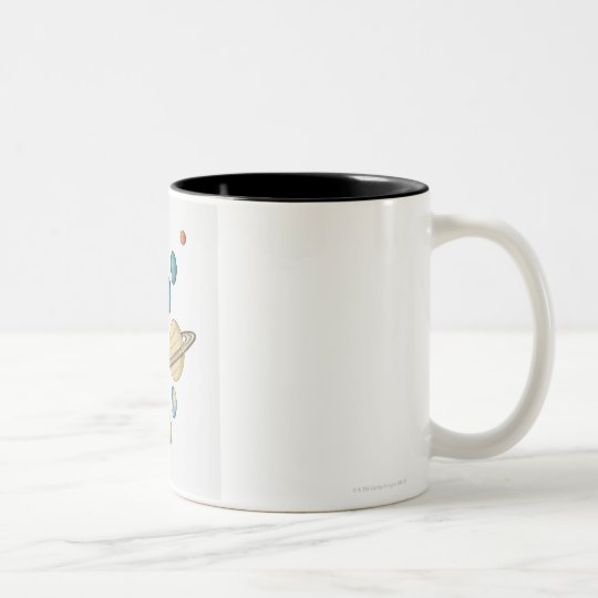 Illustration of the planets of the solar system Two-Tone coffee mug