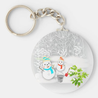Illustration of the snowman is lovely the key hold keychain