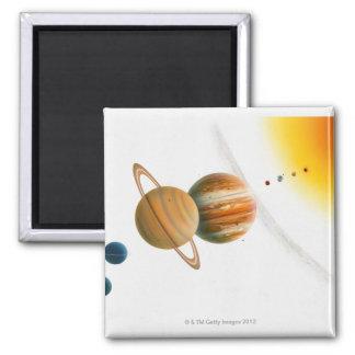 Illustration of the Sun, Mercury, Venus moon 2 Inch Square Magnet