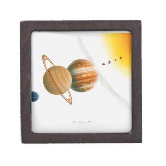 Illustration of the Sun, Mercury, Venus moon Keepsake Box
