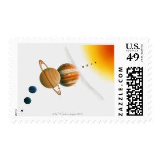 Illustration of the Sun, Mercury, Venus moon Postage Stamp