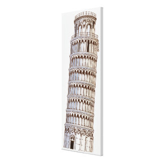 Illustration of the Tower of Pisa Canvas Print