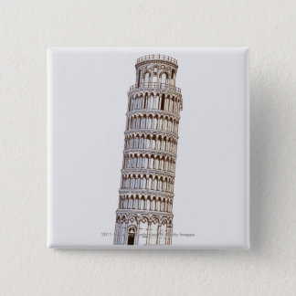 Illustration of the Tower of Pisa Pinback Button