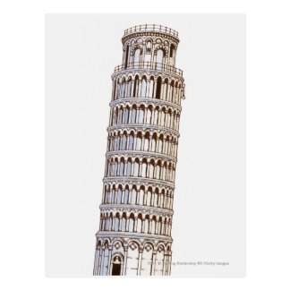 Illustration of the Tower of Pisa Postcard