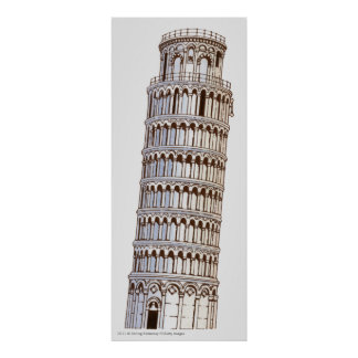 Illustration of the Tower of Pisa Poster