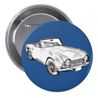 Illustration Of Triumph Tr4 Sports Car Pinback Button