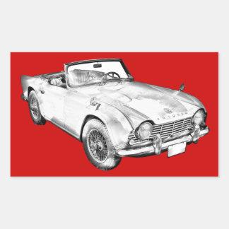 Illustration Of Triumph Tr4 Sports Car Rectangular Sticker