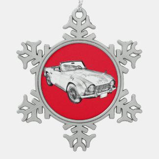 Illustration Of Triumph Tr4 Sports Car Snowflake Pewter Christmas Ornament