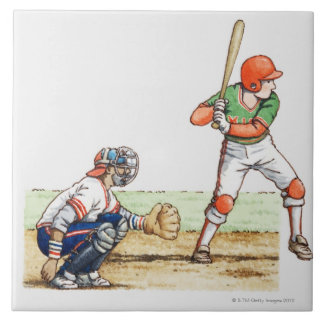 Illustration of two baseball players ceramic tile
