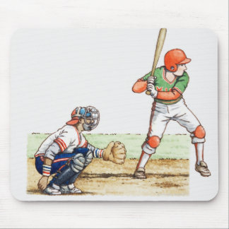 Illustration of two baseball players mouse pad