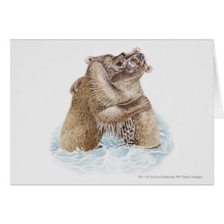 Illustration of two Brown Bears fighting in water Card